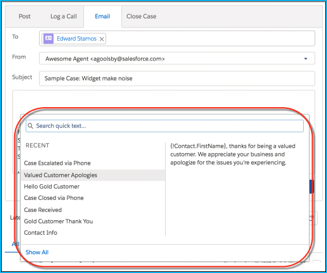 salesforce service cloud newly released quick text and macros feature image example